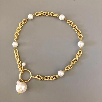 Novo colar conciso europeu e americano moda feminina na moda colar 2019 pérola costura jóias colar gargantilla