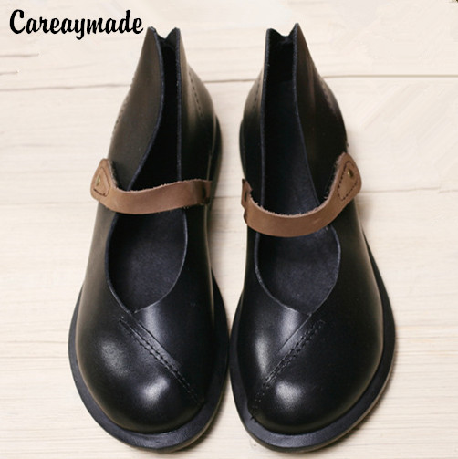 Careaymade 2019 half ankle short  real genuine leather women motorcycle shoes women Spring shoes Ma Ding shoes,size4.5 10-in Women's Flats from Shoes    1