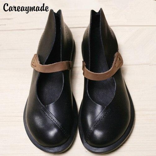 Careaymade 2019 metà caviglia brevi reale delle donne del cuoio genuino del motociclo della Molla delle donne scarpe Ma Ding scarpe, size4.5 10-in Ballerine da donna da Scarpe su  Gruppo 1
