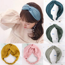Sale 1PC Solid Soft Knotted Headband For Women Lady Bow Hair Hoop girls Accessories Headwear 2style