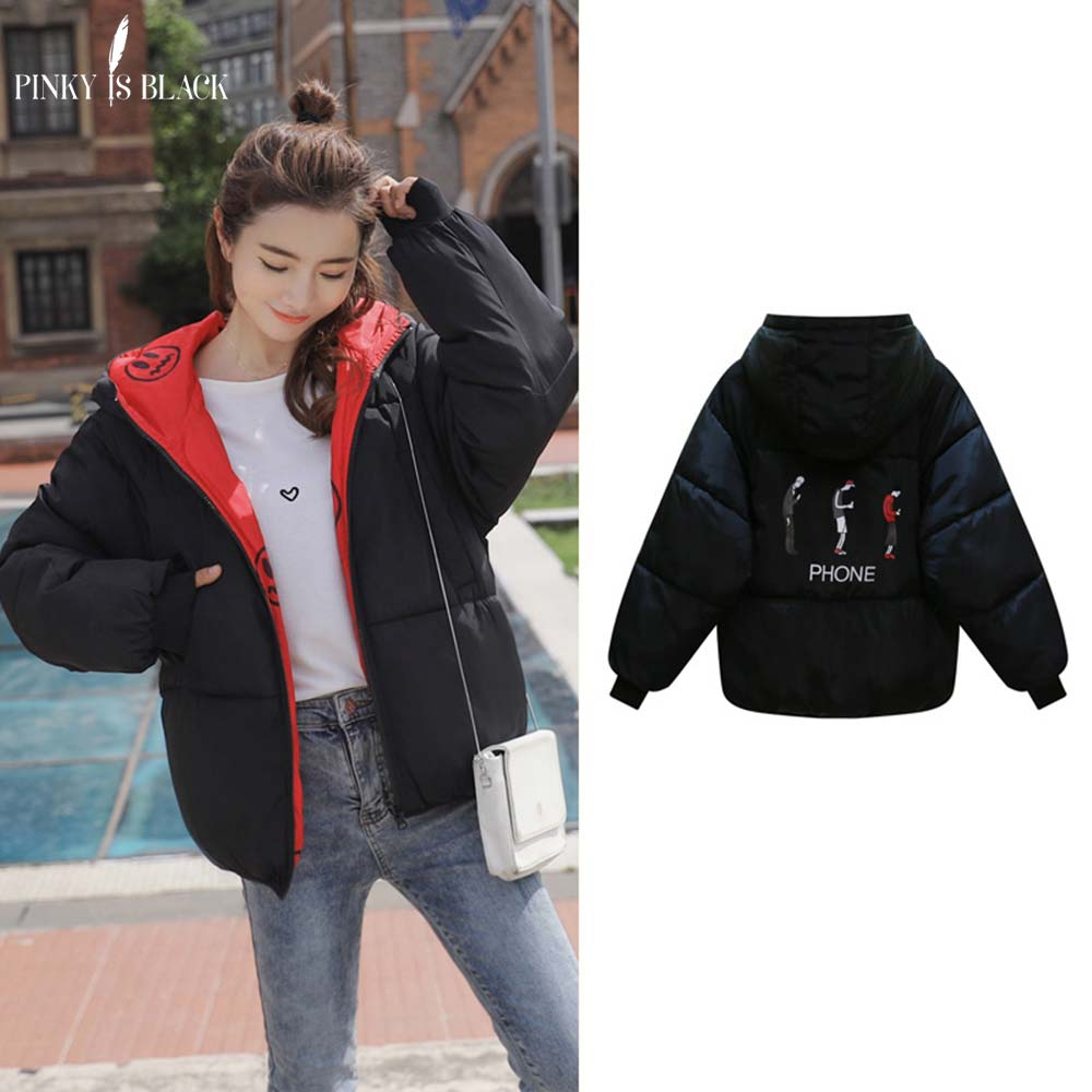PinkyIsblack New   parka   women 2018 Winter Jacket Women Coats Hooded Ladies Coats Female Thick Cotton Padded Jacket Two Sides Wear