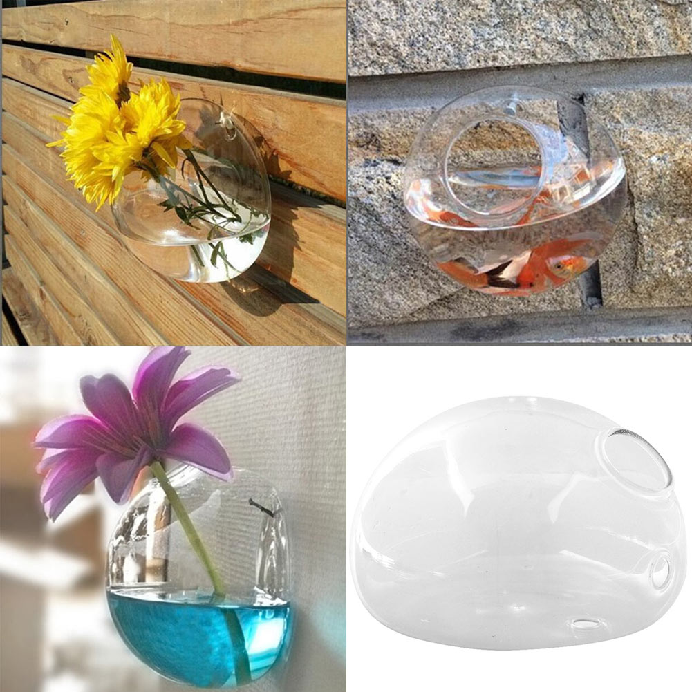 Flower vase with fish - New Creative Semicircular Wall Hanging Glass Flower Vase Hydroponic Container Fish Tank Home Wedding China