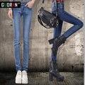 Invierno de la cachemira Caliente Vaqueros de Las Mujeres Con Cintura Alta pantalones Vaqueros Negros Para Niñas Estiramiento Skinny jeans pantalones lápiz de Gran Tamaño 26-32