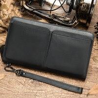 Large Capacity Men Wallets purse Genuine leather Purses Cowhide Male Wallets double pocket men's wallet long clutch bag