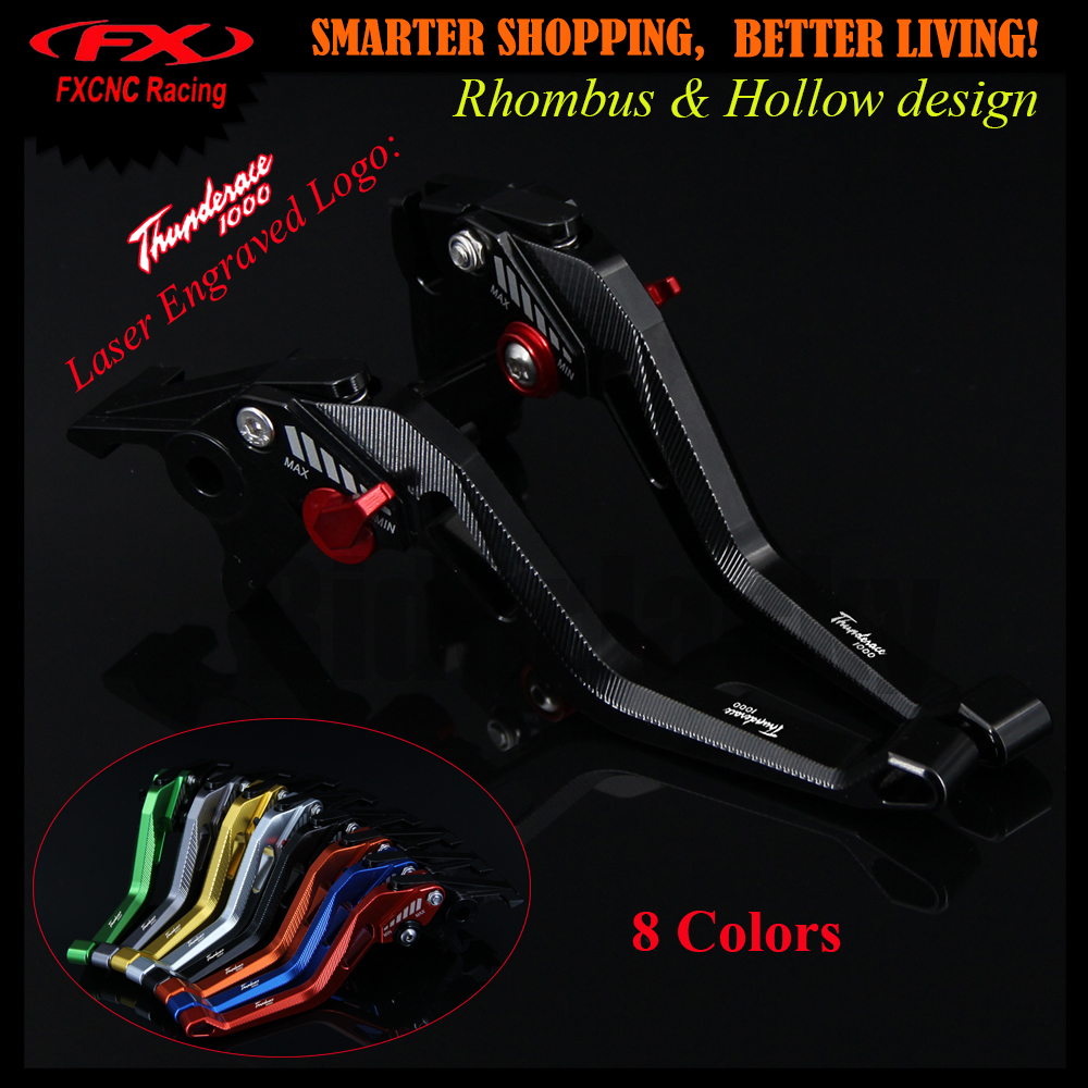 With Logo 3D design (Rhombus Hollow) Black CNC Adjustable Motorcycle Brake Clutch Lever For Yamaha YZF1000R Thunderace ALL YEARS for yamaha yzf r15 2013 2016 aluminum cnc adjustable extending brake clutch lever blue