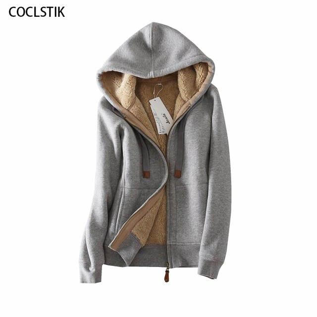 Hohe Qualität Winter Wolle Frauen Grau Mit Kapuze Jacken Frauen Hoodie Mantel Verdicken Warme Baumwolle Weibliche Thermische Sweatshirt Jacke S 3XL