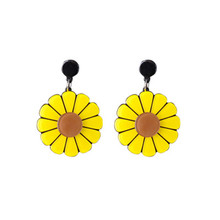 Korean Exaggerated Sweet Temperament Wild Small Fresh Sunflower Daisy Flowers Earrings Female