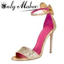 Onlymaker Женские босоножки роскошные золотые цвет 12 см тонкий каблук модные Ремешок на щиколотке на высоком каблуке Сандалии для девочек Большие размеры 15