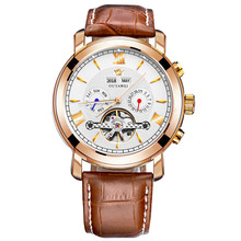 OUYAWEI Skeleton Tourbillon Mechanical Watch Men Automatic Classic Rose Gold Leather Mechanical Wrist Watches Reloj Hombre 2018 цена и фото