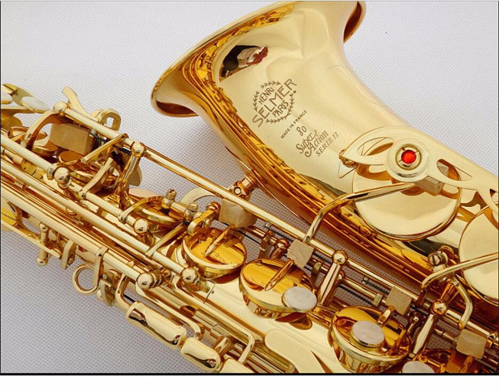 New Selmer Top 802 Gold Plated Alto Saxophone Brand France Henri sax E Flat professional musical instruments  sax Free shippin  brand new france henri selmer soprano saxophone 80 black nickel gold sax mouthpiece with case and accessories