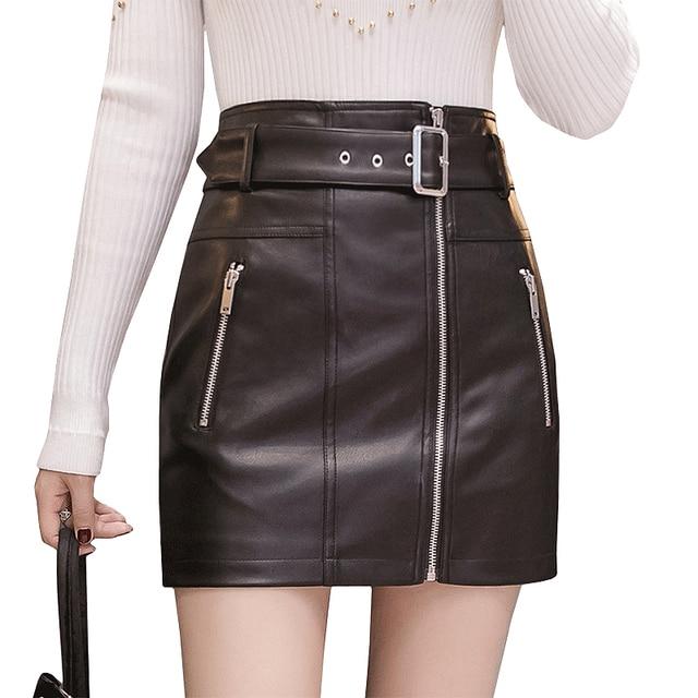 872c37a31bdb8 2018 Fashion Pu Faux Leather Skirts Womens High Waist Zipper Pockets Pencil  Skirt With Belt plus size sexy bandage Mini Skirts