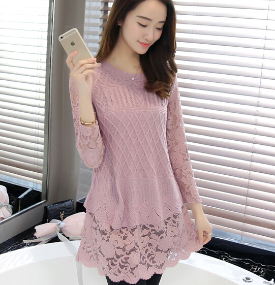 Slim Lace Splice Thin sweater Fake two pieces Hedging Sweater female sweater bottoming 2017 Spring casual