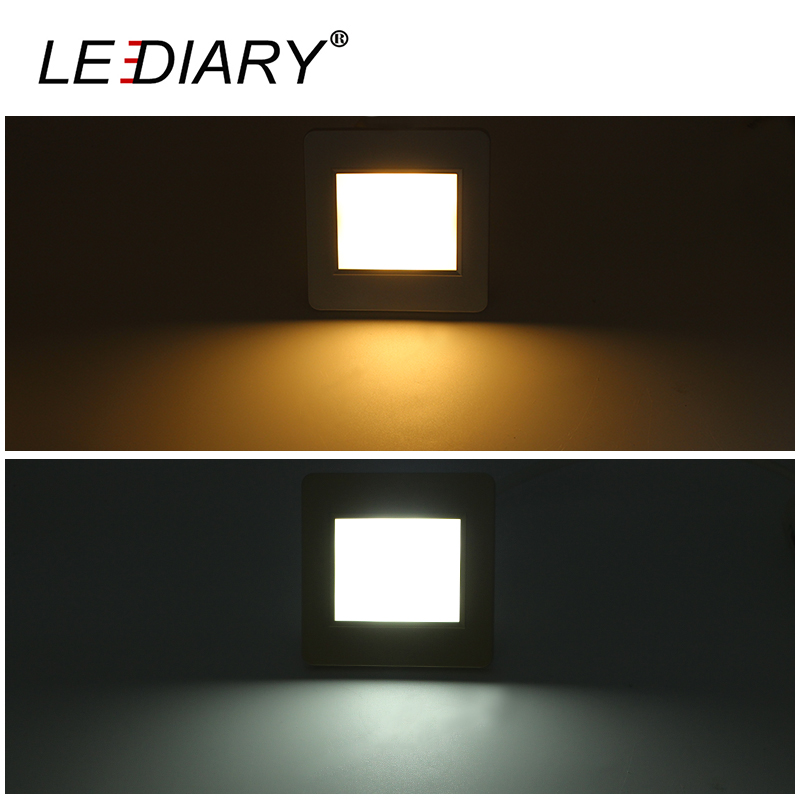 LEDIARY Radar Sensor LED Stair Light 100V 240V 2W Square Recessed Step Lamps With Light Sensor Footlight 90mm Size Wall Lamp in LED Indoor Wall Lamps from Lights Lighting