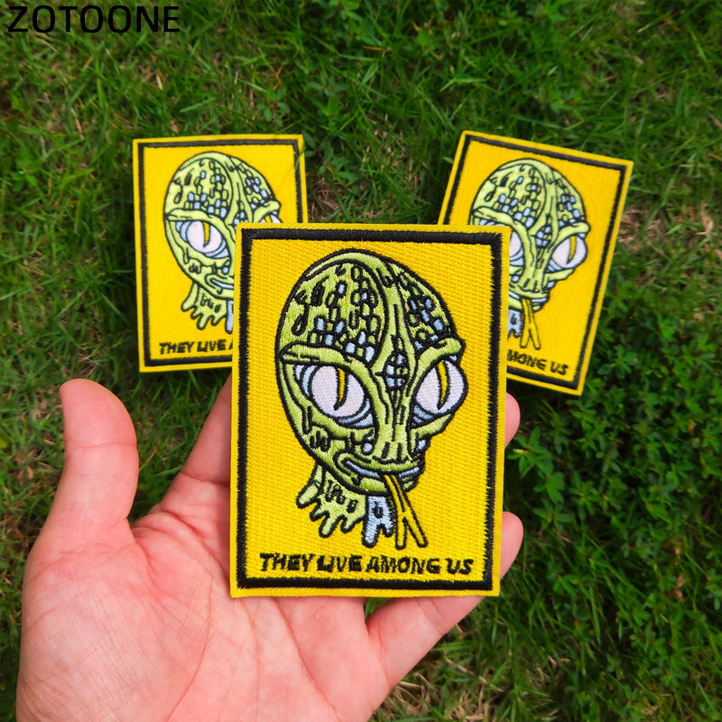 ZOTOONE UFO Space Alien Patch Iron on Letter Sew Applique Badge They Live Among Us Embroidered Patches for Clothes Sticker