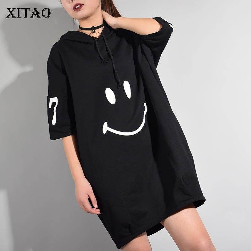 Женское платье с коротким рукавом XITAO, длинное платье до колена с капюшоном и принтом персонажей из Кореи, лето 2017loose dressknee dressdress fashion women -