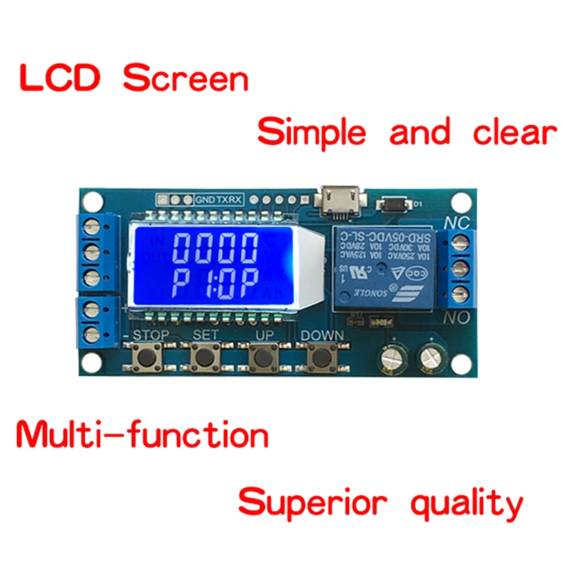 US $3 81 17% OFF DC 6 30V Support Micro USB 5V LCD and AC 220V 5A Display  Automation Cycle Delay Timer Relay-in Relays from Home Improvement on
