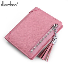 Thin Female Purses Money Fine Genuine Leather Womens Short Small Wallets for Girls Coin Mini Ladies Candy Wallet for Card Holder