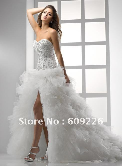 Hot strapless sweetheart layers of ruffled tulle high for Tulle high low wedding dress