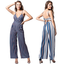 Wide Leg Jumpsuits Women 2019 New Sleeveless V Neck Striped Jumpsuit Overalls Lace Up Cut Out Jumpsuits Rompers cut out neck wide leg halter jumpsuit