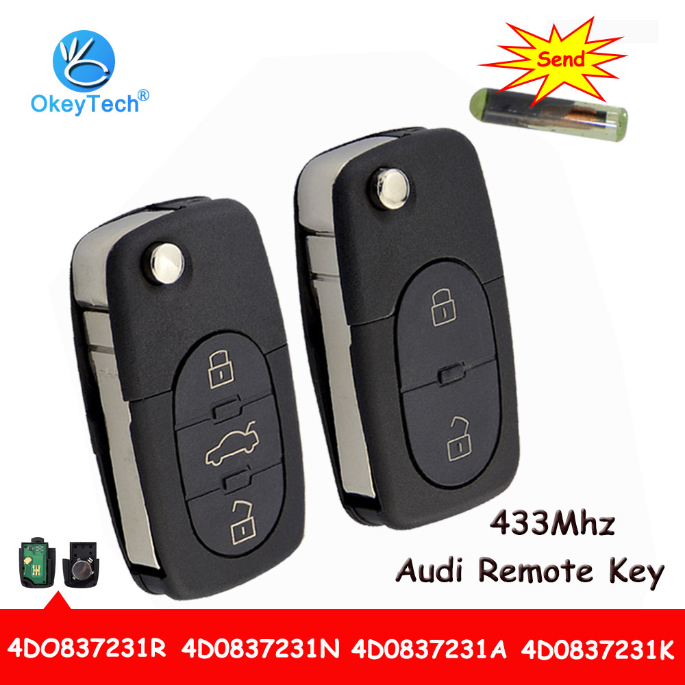 OkeyTech 3 Button Flip Folding Auto Car Fob Remote Key 433Mhz ID48 Chip For Audi A3 A4 A6 A8 Old Models RS4 TT Quttro 4D0837231A