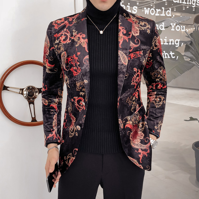Luxury Royal Paisley Floral Blazer  2 Button Wedding Party Prom Blazer Flower Men Pattern Velvet Suit Jacket Business Causal