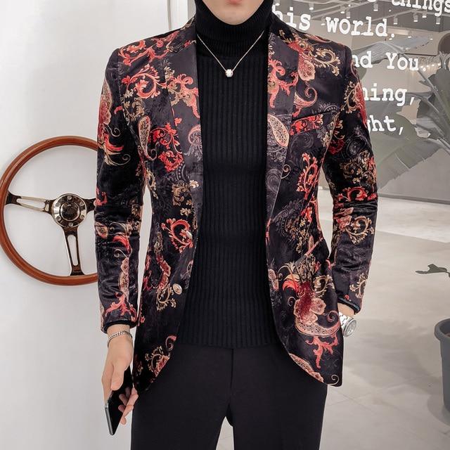 414d50e609b95 Luxury Royal Paisley Floral Blazer 2 Button Wedding Party Prom Blazer  Flower Men Pattern Velvet Suit Jacket Business Causal