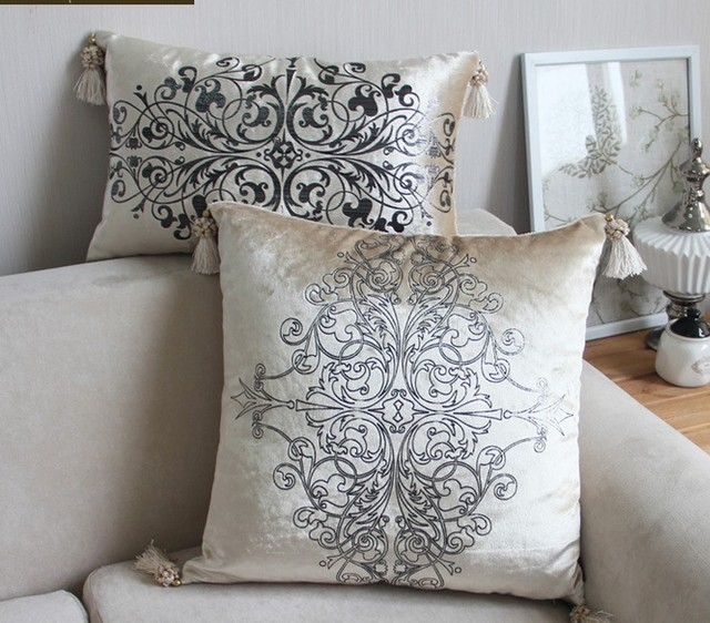 Aliexpresscom Buy Luxurious Sliver Print Velvet Pillow with