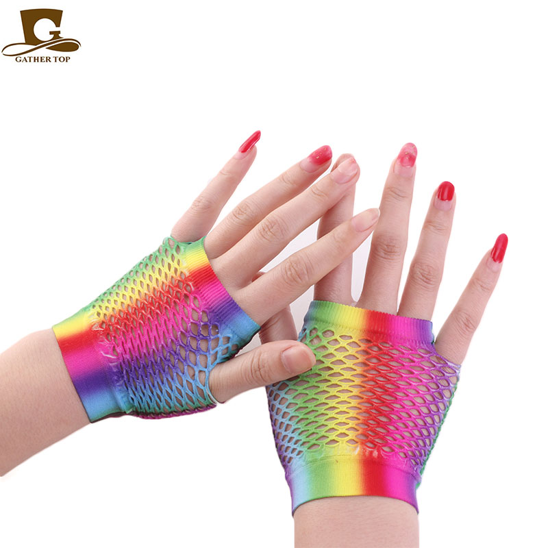 New Tie-dyed  Wrist Length Fingerless Fishnet Gloves
