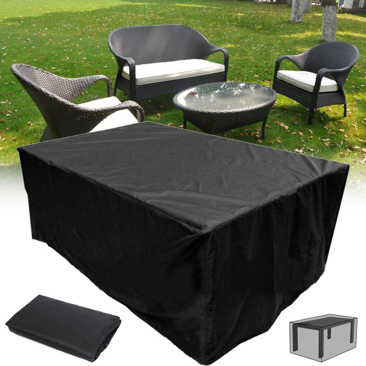 New Black Outdoor Garden Patio Furniture Covers Shelter Sun Protection Cover Canopy Dustproof Cloth Table Protect Bag Textiles 1