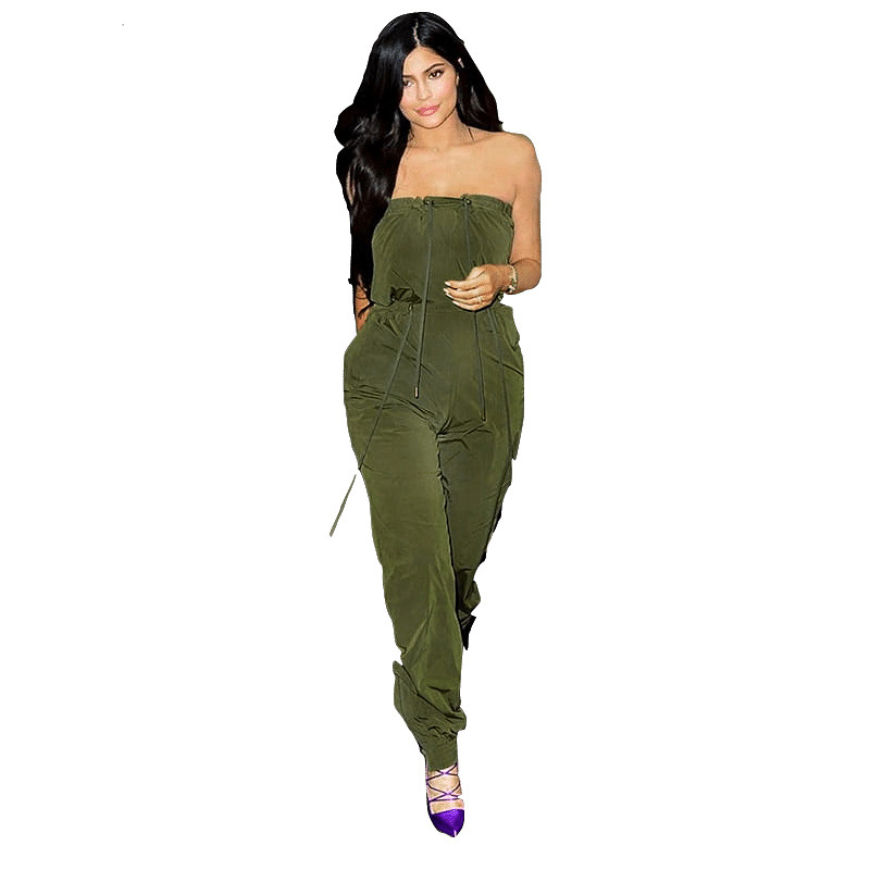 Fashion 2018 Womens Army Green Long Jumpsuit Off Shoulder Lace Up Drawstring Strapless Casual One Piece Ladies Outfits Rompers