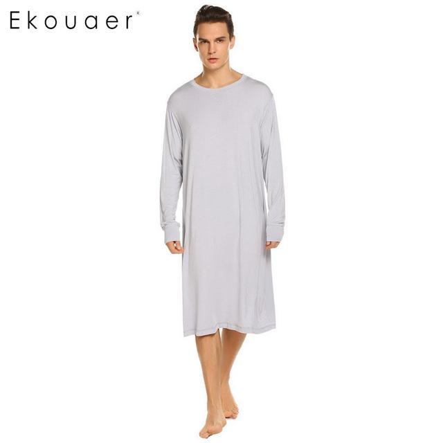 c6292c3c6c Ekouaer Men Sleepwear Long Nightshirt Long Sleeve Lightweight Loose Sleep  Top Casual Sleepshirts Male Comfortable Home Nightwear