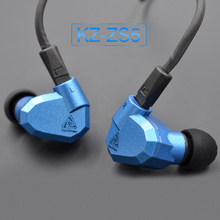 KZ ZS5 Dynamic +Balanced Armature Quad Hybrid Driver In-Ear Earphone Earbud Metallic Blue and Gray With Microphone