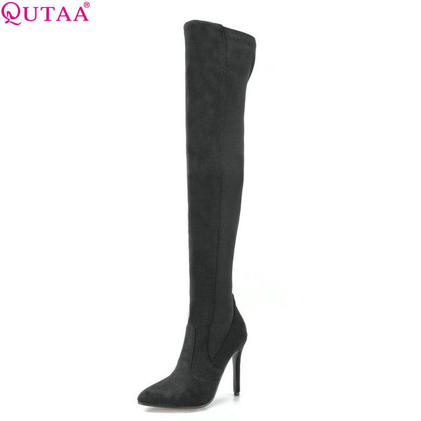 купить QUTAA 2019 Women Over The Knee High Boots All Match Fashion Winter Shoes Tingh High Heel Pointed Toe Women Boots Size 34-43 онлайн