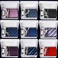 Mens Cravate Ensemble Classique messieurs Cravates Plaid Bande cravates Bouton De Manchette Mouchoir Ensemble de cravate D'affaires De Mariage Vacances Cadeau De Luxe Boîte