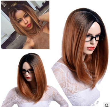 Yhair Long Straight Bob Wigs For Women Shoulder Length Brown Ombre