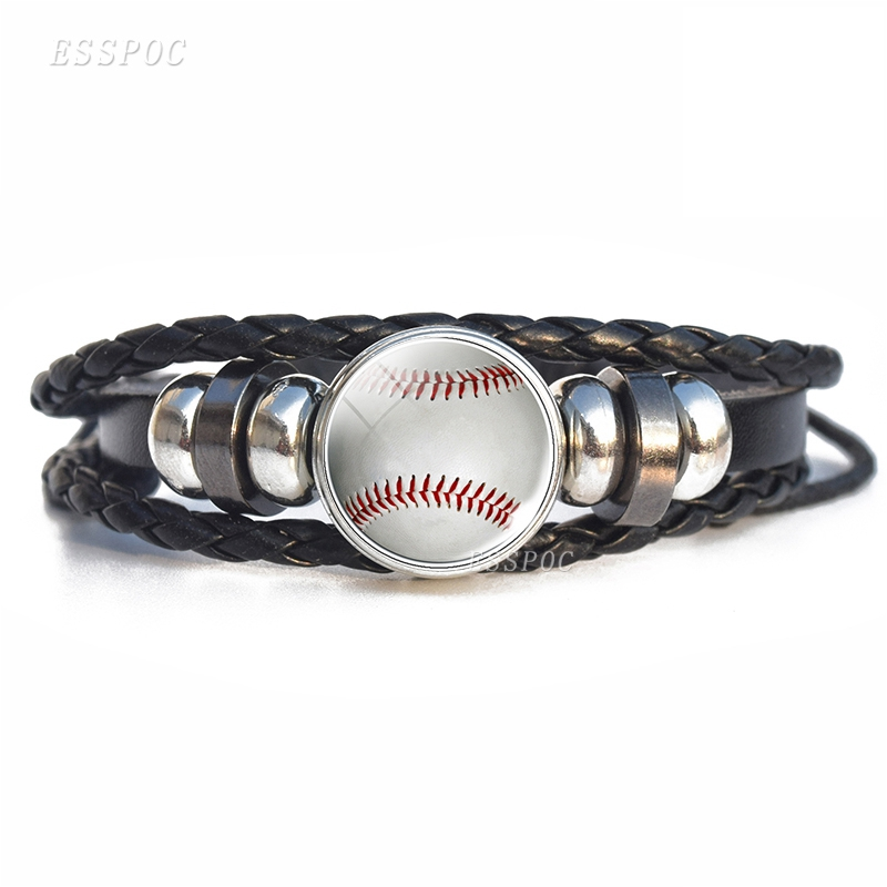 Funny Men Fashion Sport Ball Leather Bracelet, Softball, Basketball, Football, Baseball,Volleyball Photo Glass Cabochon Bracelet