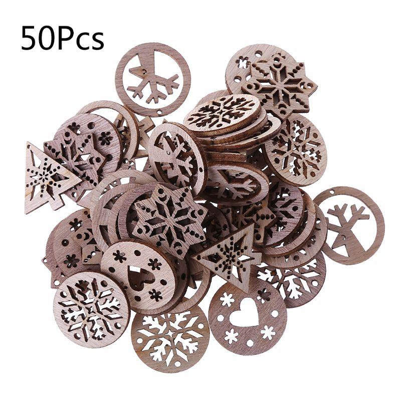 50pcs Laser Cut Wood Embellishment Wooden Snowflake Shape Craft Wedding Decor