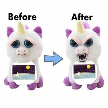 Animaux en colère changer de visage licorne en peluche unicornio poupée ours blanc farce jouets animaux en peluche poupée jouets pour enfants noël astuce