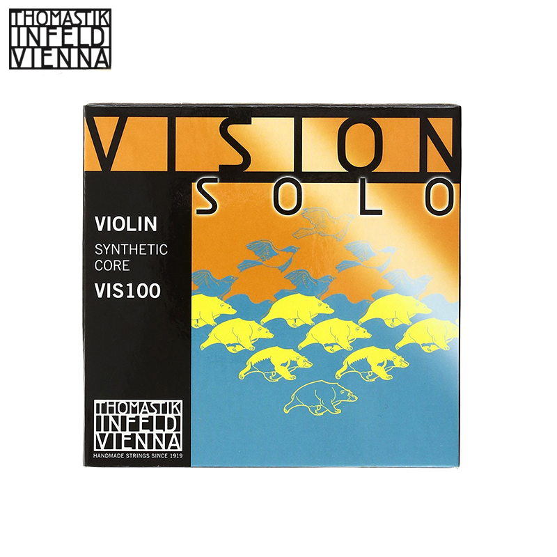 Thomastik-Infeld VIS100 Vision Solo Violin Strings, Complete Set, 4/4 Size, Aluminum Wound D replacement steel wire violin strings set for size 1 4 silver 4 pcs