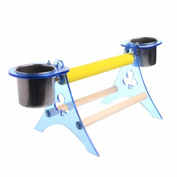 Parrot Perch Stand Platform Play Fun Toys Pet Wooden Playstand Cup For Bird Cage 2