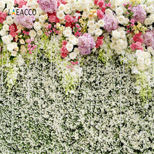 Laeacco Romantic Flowers Wall Wedding Baby Photography Backgrounds Vinyl Custom Photo Backdrops Props For Studio Photo custom vinyl print cloth castle ladder photography backdrops for wedding stage photo studio portrait backgrounds props s 836