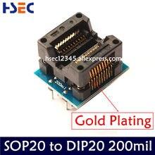 Adaptateur de programmeur IC sop20 à dip20, de qualité supérieure, de 200 à 208mil, SOIC20 à DIP20, livraison gratuite