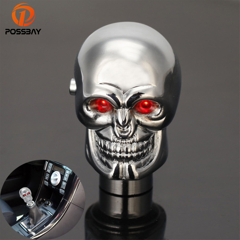 ABy Skull Shape Auto Car Aluminium Alloy Gear Stick Shift Shifter Lever Knob with Blue Led light For Car Manual Transmission and Automatic Transmission Without Lock Button