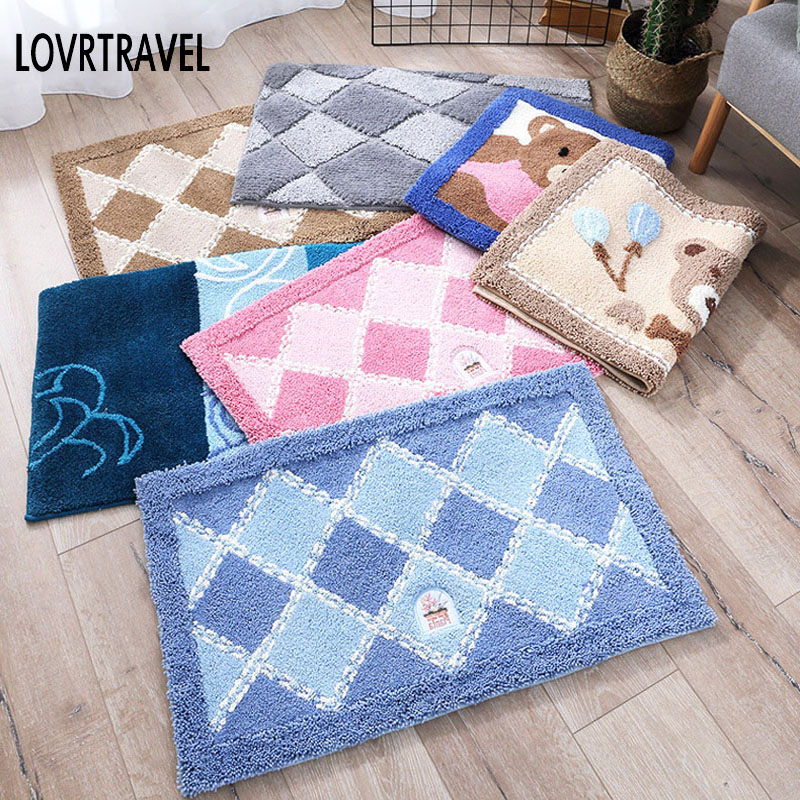 Super-absorbent Silky Flocking Carpet Mats Sofa Bedroom Living Room Anti-Slip Floor Soft ...