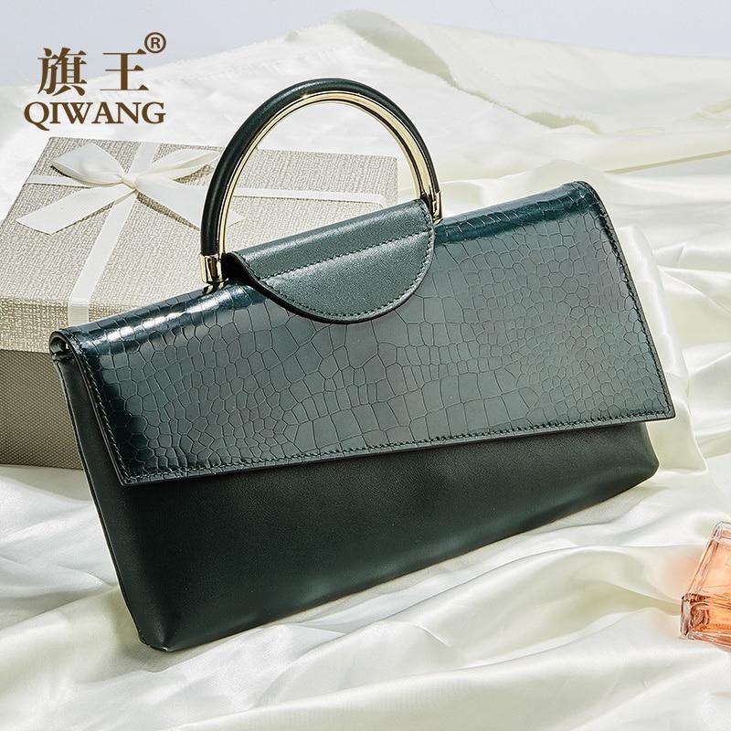 QIWANG Slim Women Wallet Green Crocodile Cow Leather Wallets Clutch handle Bag Purse Fashion Modern Charm Green Phone Wallet