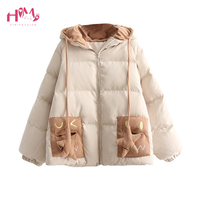 Korean Young Girl Cute Cat Ear Hooded Coats Short Size Cotton Zipper Autumn Winter Warm Coat Outerwear Overcoat Free Shipping