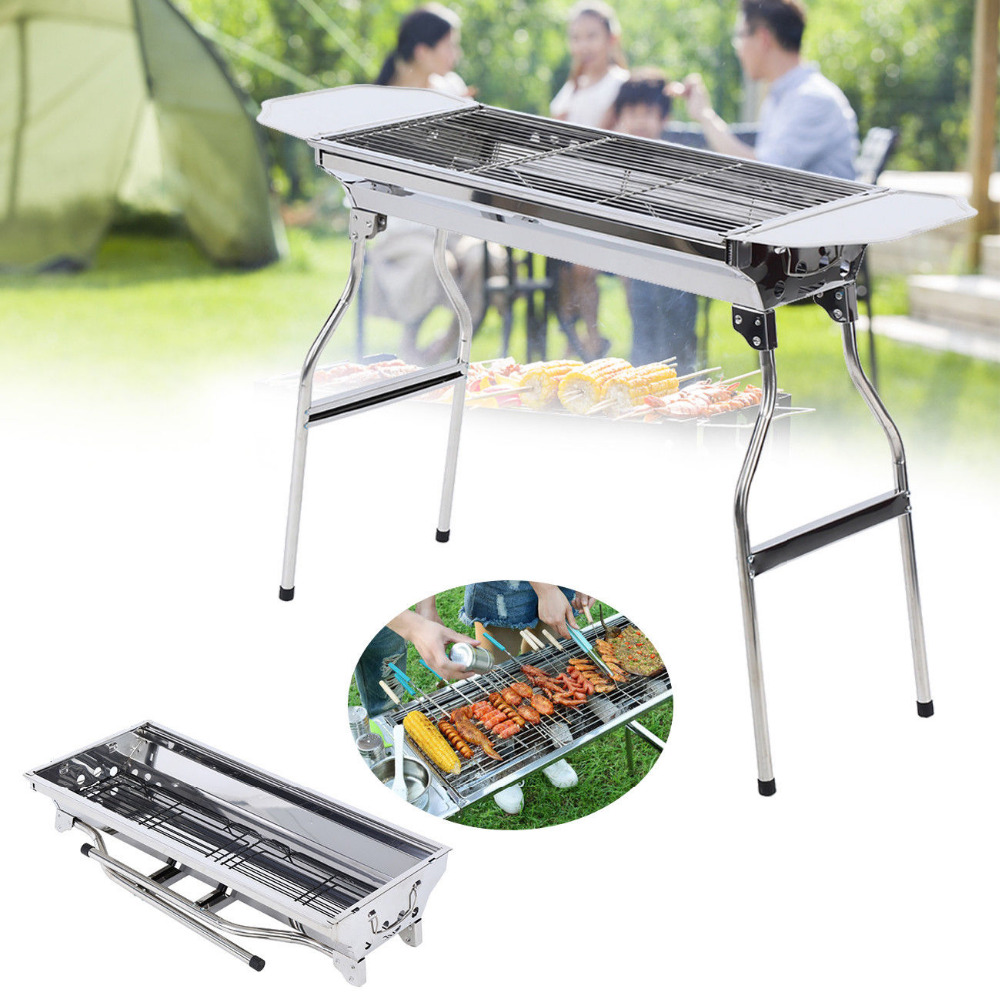 цена на Outdoor Portable Stainless Steel Barbecue Grill Camping Party Charcoal BBQ