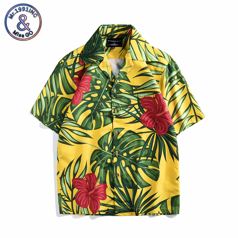 e4d775bd3f Detail Feedback Questions about Hawaiian Beach Shirts Summer Mens Shirt  Short Sleeve Lapel Collar Tropical Leaf Pattern Floral Tee Loose Vacation  chemise ...