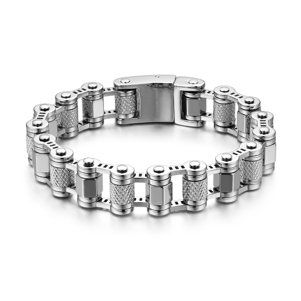 New Fashion Men Bracelets Color Silver Stainless Steel Hiphop Skeleton Bangles Jewelry For Man Mens Bike Motorcycle Link Chain 7seas motocycle men bracelets bangles casual link chain stainless steel 4 color biker bicycle jewelry bracelet for man 7s781
