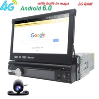 Single 1 Din 7 Android 6 0 GPS Flip Car Stereo Radio Player Touch Screen USB